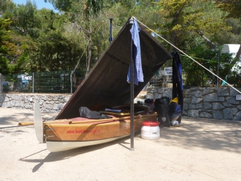 Axel's tarp for his Bufflehead sailing canoe